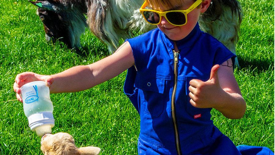 Kind geeft geit de fles bij De Flierefluiter