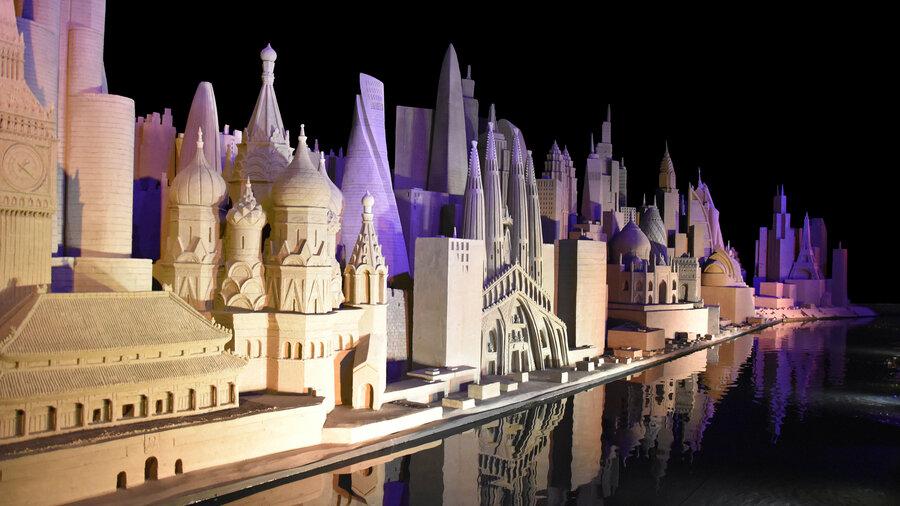 Iconische gebouwen uit de hele wereld van zand