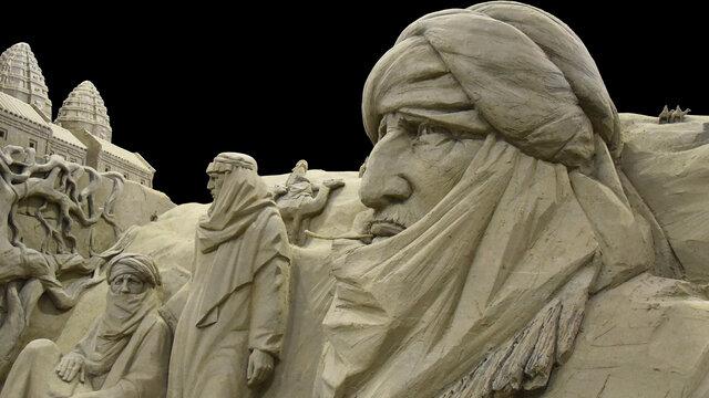 Nomaden met kamelen van zand