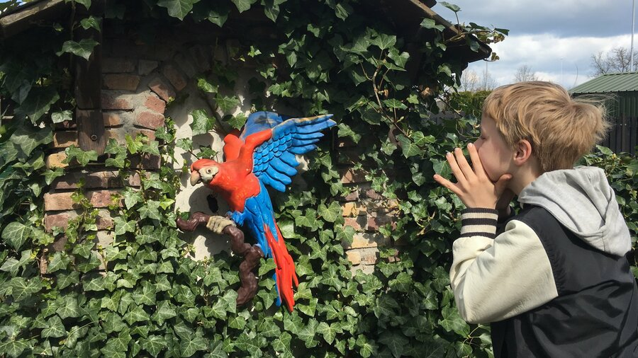 Jongen bij een beeld van een papegaai