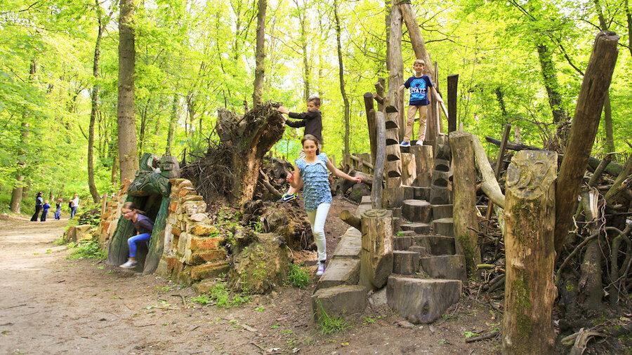 Kinderen spelen op houten palen in een bos