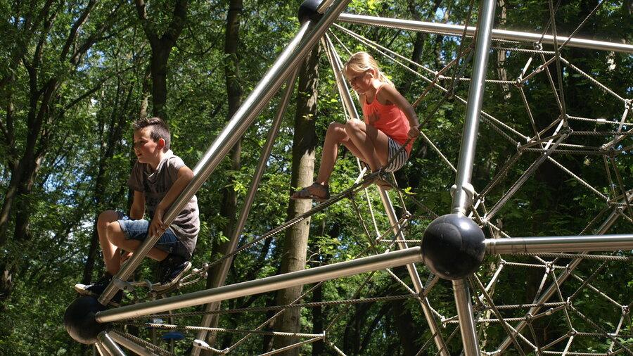 Kinderen klimmen op een klimrek
