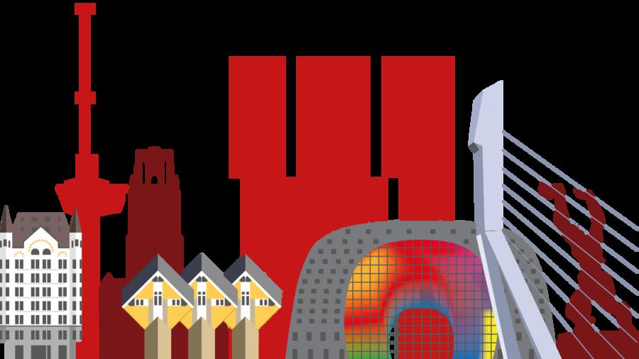 Illustratie van de highlights van Rotterdam: de Markthal, Erasmusbrug, Kubuswoningen, Euromast, Laurenskerk, Witte Huis en De Rotterdam.