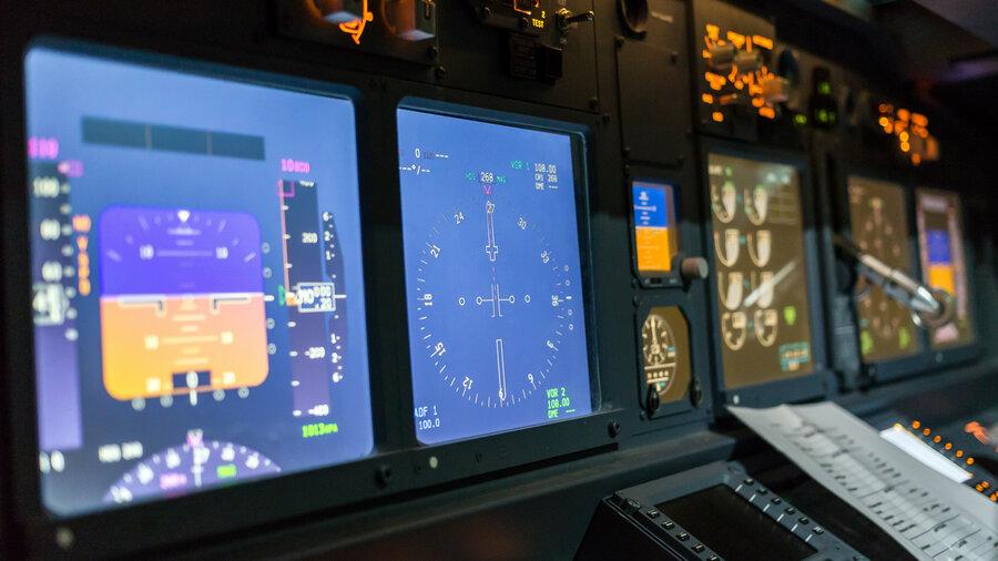 Flight Simulator Boeing 737 Schiphol beeldschermen