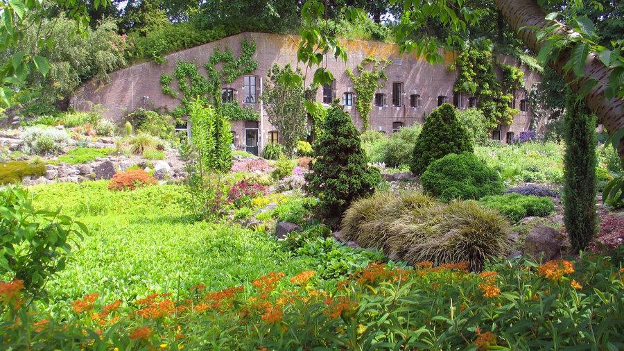 Fort met tuin vol bloemen en planten