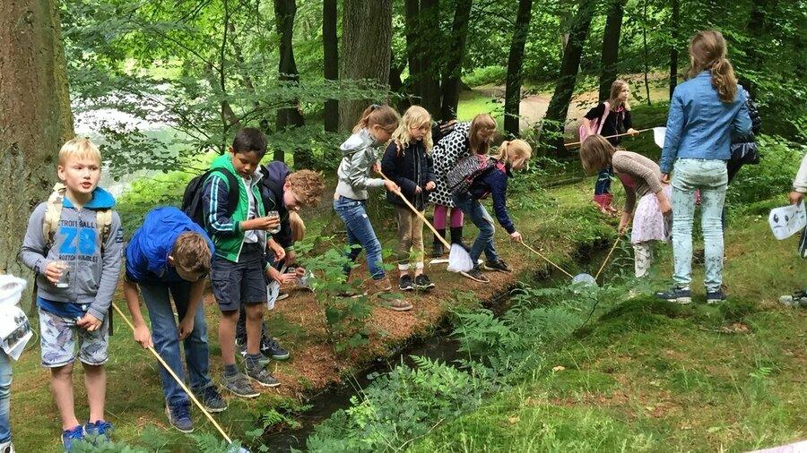 Kinderen spelen in natuur landgoed Rosendael