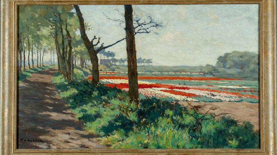 Schilderij met tulpen