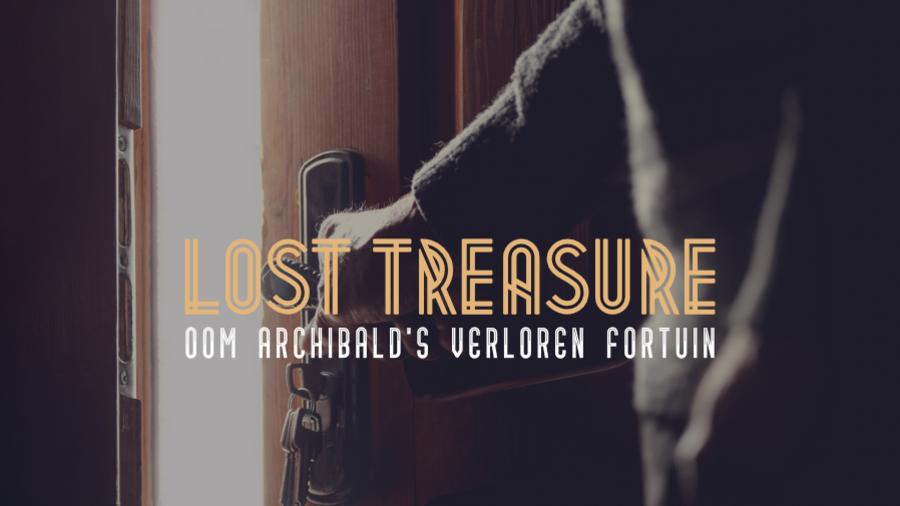 Een hand opent de deur naar de kamer van de online 3D escaperoom Lost Treasure.