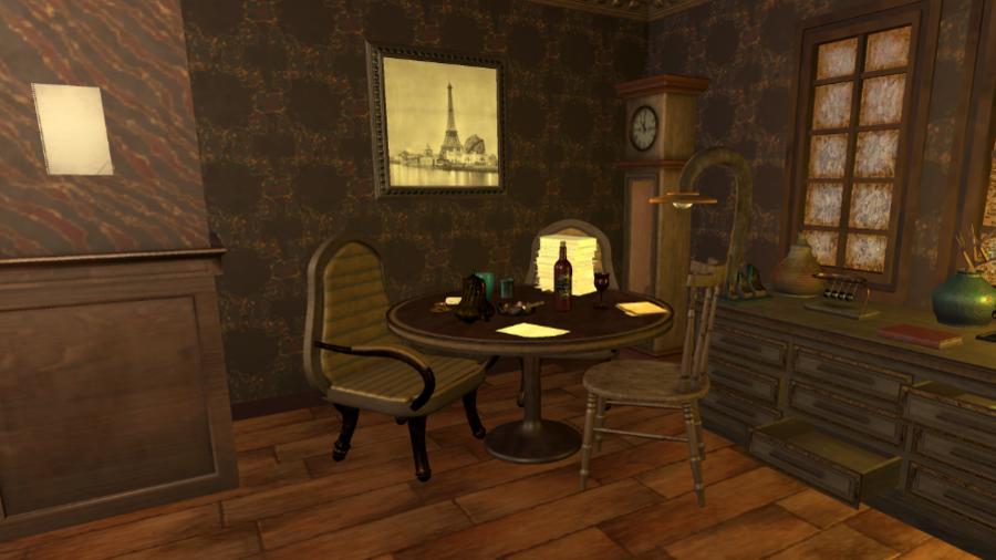 Leeg laatje en tafel vol spullen in de 3D kamer van online escaperoom Lost Treasure.