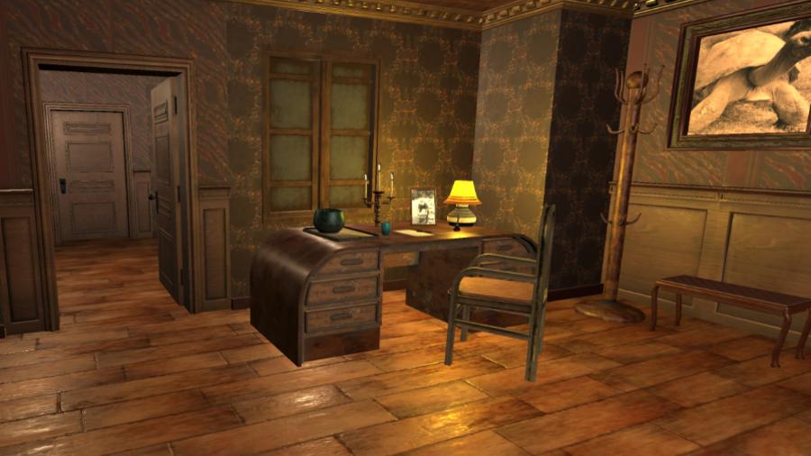 Een open deur naast een bureau laat de volgende kamer zien in 3D escaperoom Lost Treasure.