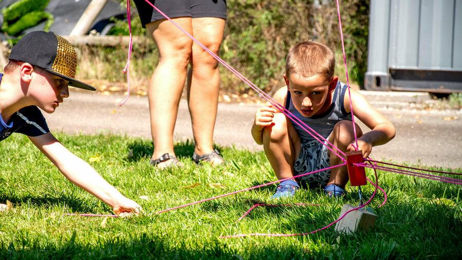 Kinderen vermaken zich prima tijdens een sportieve kinderfeestje van Sportproductions